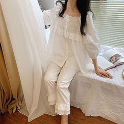 PinkRosa - 3/4-Sleeve Embroidered Pajama Set