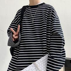 Soulcity - 圓領條紋寬鬆長袖套衫