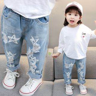PAM - Kids Star Print Ripped Jeans