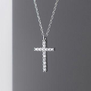 A'ROCH - 925 Sterling Silver Rhinestone Cross Pendant Necklace