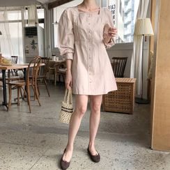 MERONGSHOP - Square-Neck Puff-Sleeve Minidress