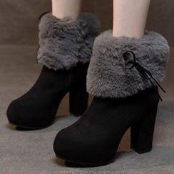 Weiya - Platform Chunky-Heel Fluffy Short Boots
