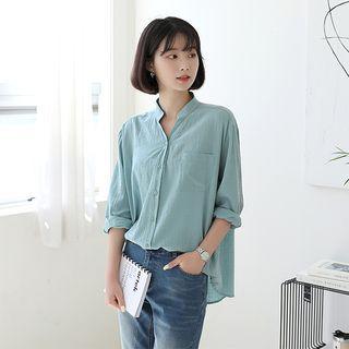 BBAEBBAE - Mandarin-Collar Cotton Shirt