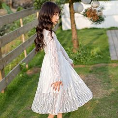 Youtale - Kids Long-Sleeve Midi A-Line Lace Dress
