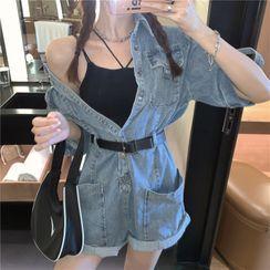Windflower - 中袖牛仔连衣短裤
