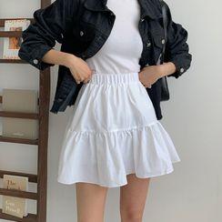 MERONGSHOP - Textured Flared Miniskirt
