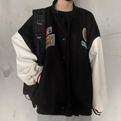 Chisan - Badge Snap Button Baseball Jacket