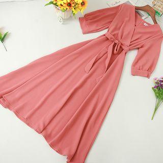 Knutsford - Tie-Waist Short-Sleeve Midi A-Line Dress