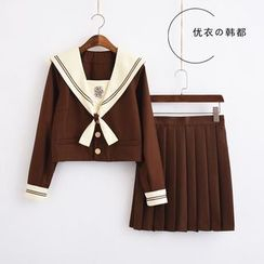 Aiyiruo - Cross Embroidered School Uniform Party Costume