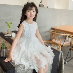 Qin Qin - Kids Sleeveless Embroidered Ruffle A-Line Dress
