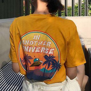 Moon City - Cartoon Print Short-Sleeve T-Shirt