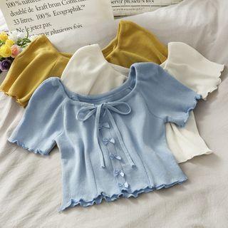 Lemongrass - 蝴蝶結抽繩系帶木耳邊修身短款針織上衣