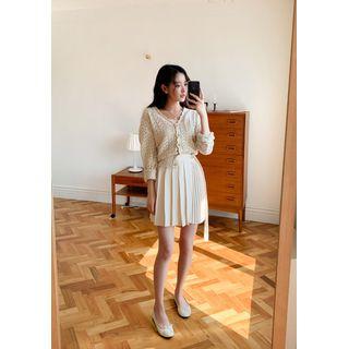 chuu - Accordion-Pleat Wrap Miniskirt