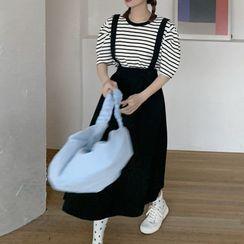 Ashlee - Striped Short-Sleeve T-Shirt / Suspender Midi A-Line Skirt
