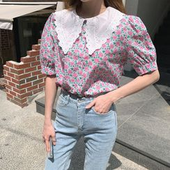 Cherryville - Eyelet-Laced Collar Floral Print Blouse