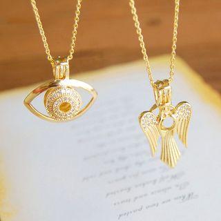 Nisen - Rhinestone Eye / Wings Pendant Necklace