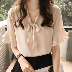 Hanji - Short-Sleeve Tie-Neck Chiffon Blouse