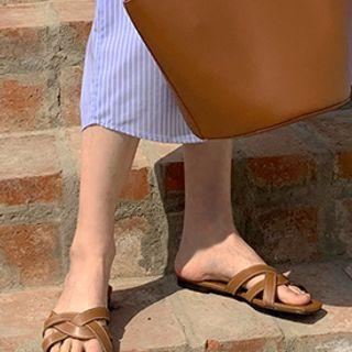 FROMBEGINNING - Woven Pleather Slide Sandals