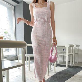DABAGIRL - Set: Zip-Side Plaid Camisole Top + Slit-Back Maxi Skirt
