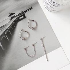 Isle of Green - Metal Bead Mini Hoop / Non-Matching Chained Earrings