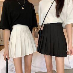Mikiko - Pleated Mini A-Line Skirt