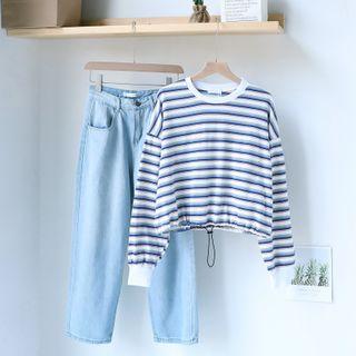 Gretchen - Striped Sweatshirt / Wide-Leg Jeans