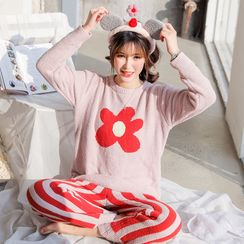 Ciambella - Pajama Set: Flower Print Fleece Pullover + Striped Pants