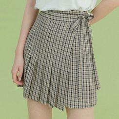 Heynew - Tie-Waist Plaid Pleated Mini Skirt