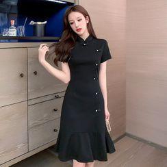 Neon Nite - Short-Sleeve Mandarin Collar Mini A-Line Dress
