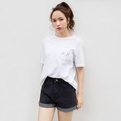 Maple Breeze - High Waist Denim Shorts