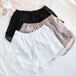 MITU - 蕾丝边丝质打底短裤