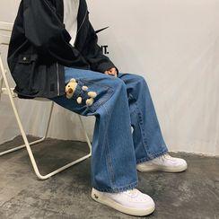 Furtheron - 毛絨熊寬腿牛仔褲