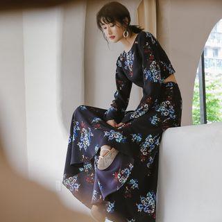 Sincethen - Set: Floral Long-Sleeve Top + Maxi Skirt