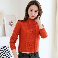 Voila - Turtleneck Multi-Color Cropped Sweater