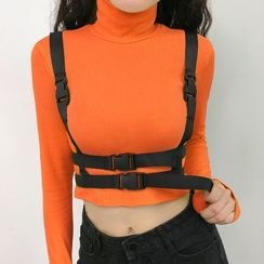 OCRE - Long-Sleeve Turtle-Neck Buckled T-Shirt