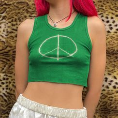Sosana - Peace Sign Print Cropped Tank Top