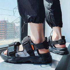 JACIN - Platform Printed Adhesive Strap Sandals
