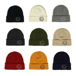 Heloi - Smiley Face Embroidered Beanie