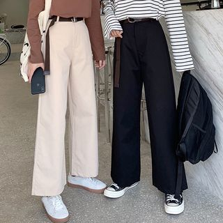 Bloombloom - High Waist Wide-Leg Pants