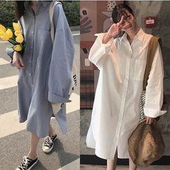 Whoosh - Long-Sleeve Midi Shirt Dress