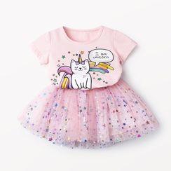 ZiG ZaG - Kids Set: Short-Sleeve Cat Print T-Shirt + Star Print Mesh Skirt