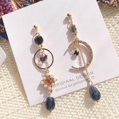 DREN - Non-matching Rhinestone Moon Dangle Earring
