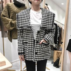 Soshow - Sailor Collar Houndstooth Single-Breasted Jacket