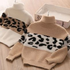 Seashells Kids - Kids Turtleneck Leopard Print Panel Sweater
