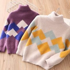 Seashells Kids - Kids Turtleneck Square Print Sweater