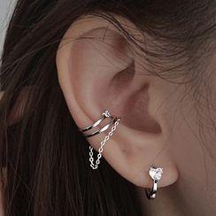 Metallique - Hoop Sterling Silver Clip-On Earring / Set