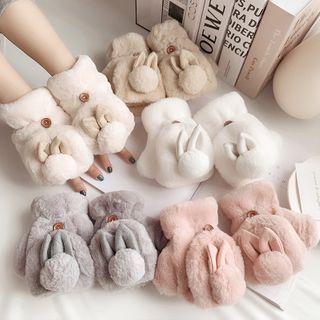 Kalamate(カラメイト) - Rabbit Ear Chenille Convertible Mittens