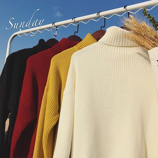 Artistman - Turtleneck Plain Sweater