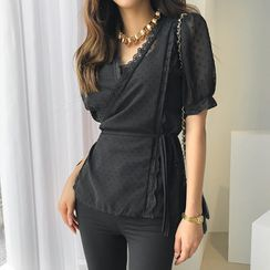 DABAGIRL - Laced Dotted Chiffon Wrap Blouse