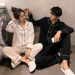 Endormi(エンドーミ) - Couple Matching Pajama Set: Long-Sleeve Contrast Piped Top + Pants